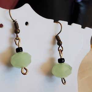 Bronze Tone Hook Green Czech Glass Bead Earrings